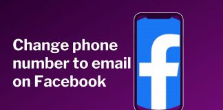 Change phone number to email on Facebook