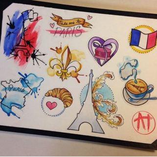 Cette tatoueuse de Boston a ressorti la plaquette de dessins aux motifs de Paris qu'elle a réalisés quelques mois auparavant. Elle souhaite faire don de l'argent obtenu grâce à ces tatouages aux victimes des attentats. (Crédit photo: Instagram/@Aliciathomas_art)