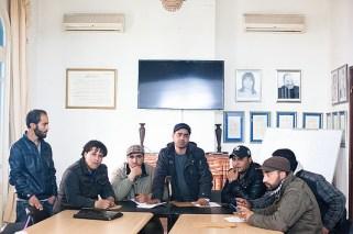 Les chômeurs venus de Kasserine tiennent une conférence de presse dans les locaux du Syndicats des journalistes Tunisiens.Crédit photo:Clara Lafuente.