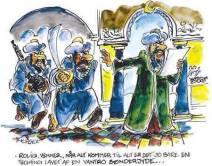 Mahomet calme deux de ses sectateurs, furieux, en indiquant que le dessin qu'il tient dans sa main n'a été fait que par un mécréant danois du sud-ouest. « Relax les gars, c'est juste une blague faite par un danois du sud-ouest. ». C'est une caricature de Franz Füchsel.