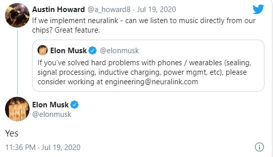 Musk confirming Neuralink will let you stream music directly to your brain