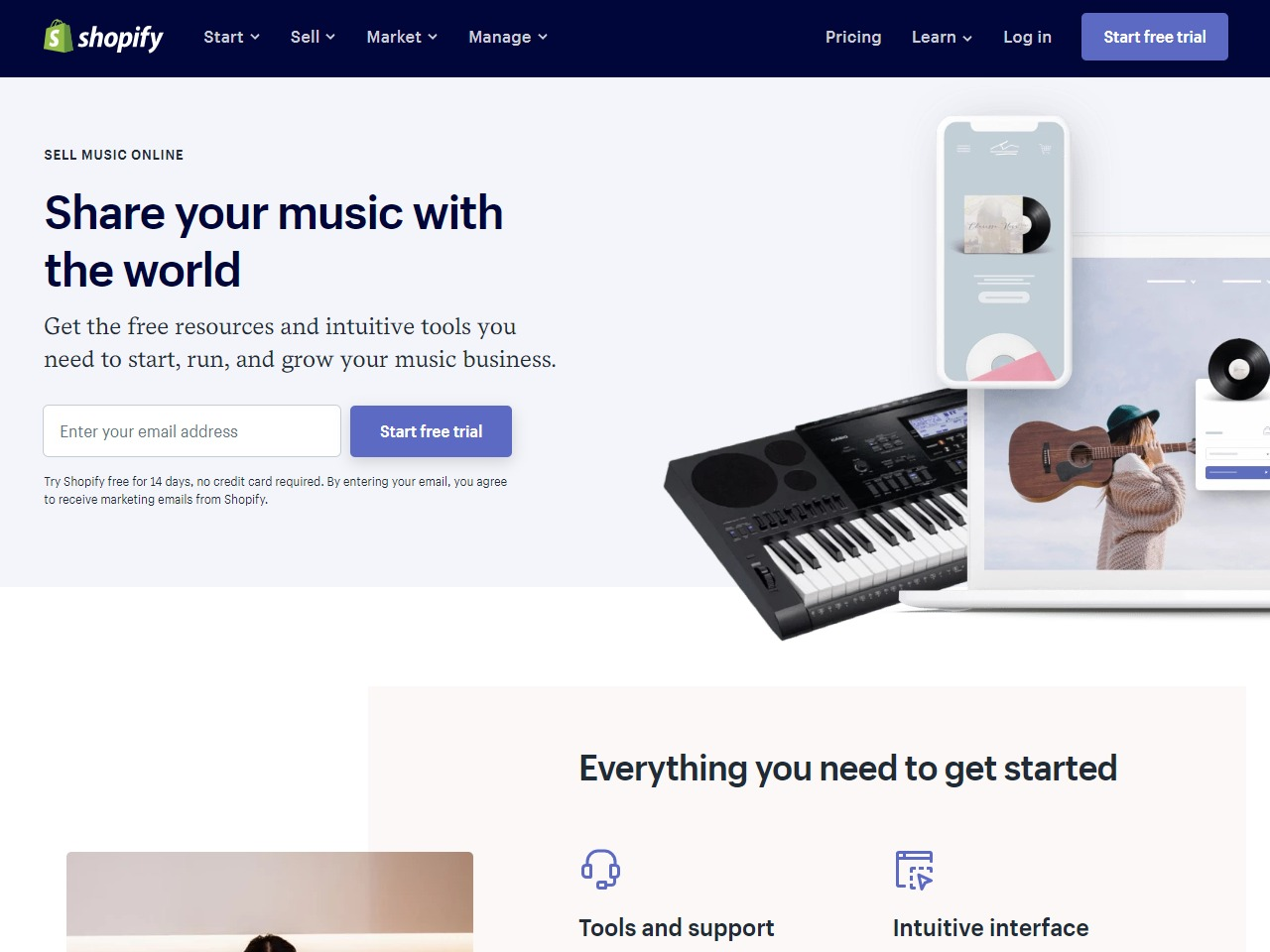 Sell Music Online - Get Free Trial from Shopify to Sell Music CDs