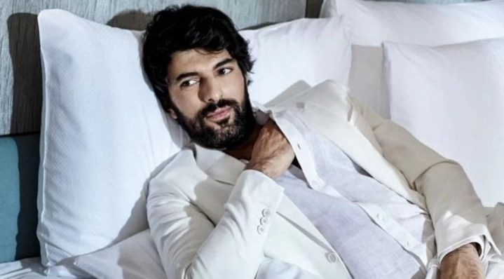 Engin Akyurek in white shirt sexy look beard and long hair