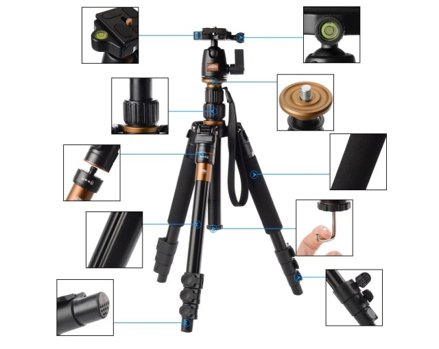 Rangers 55″ 2.8lbs Super Light-weight Aluminum Tripod