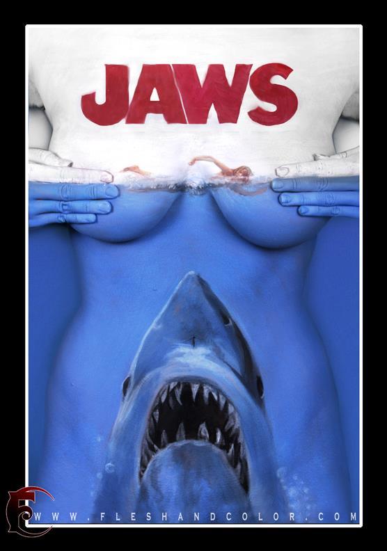 Jaws Shark bodypaint