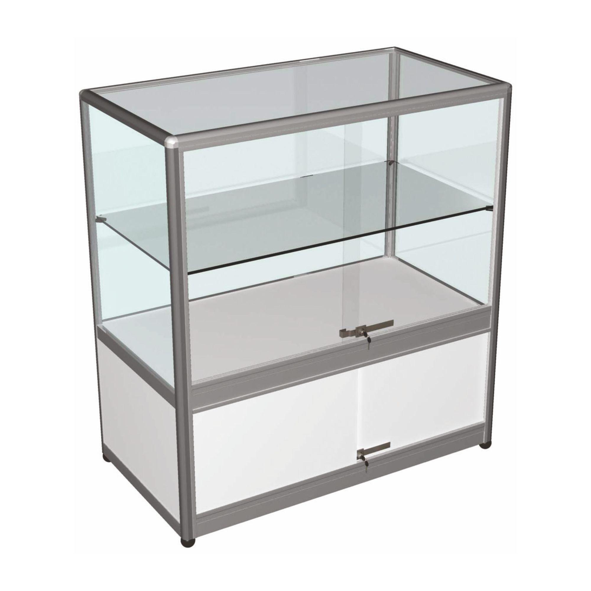 vitrine comptoir l100 x h100 x p50 cm portes coulissantes et espace de stockage