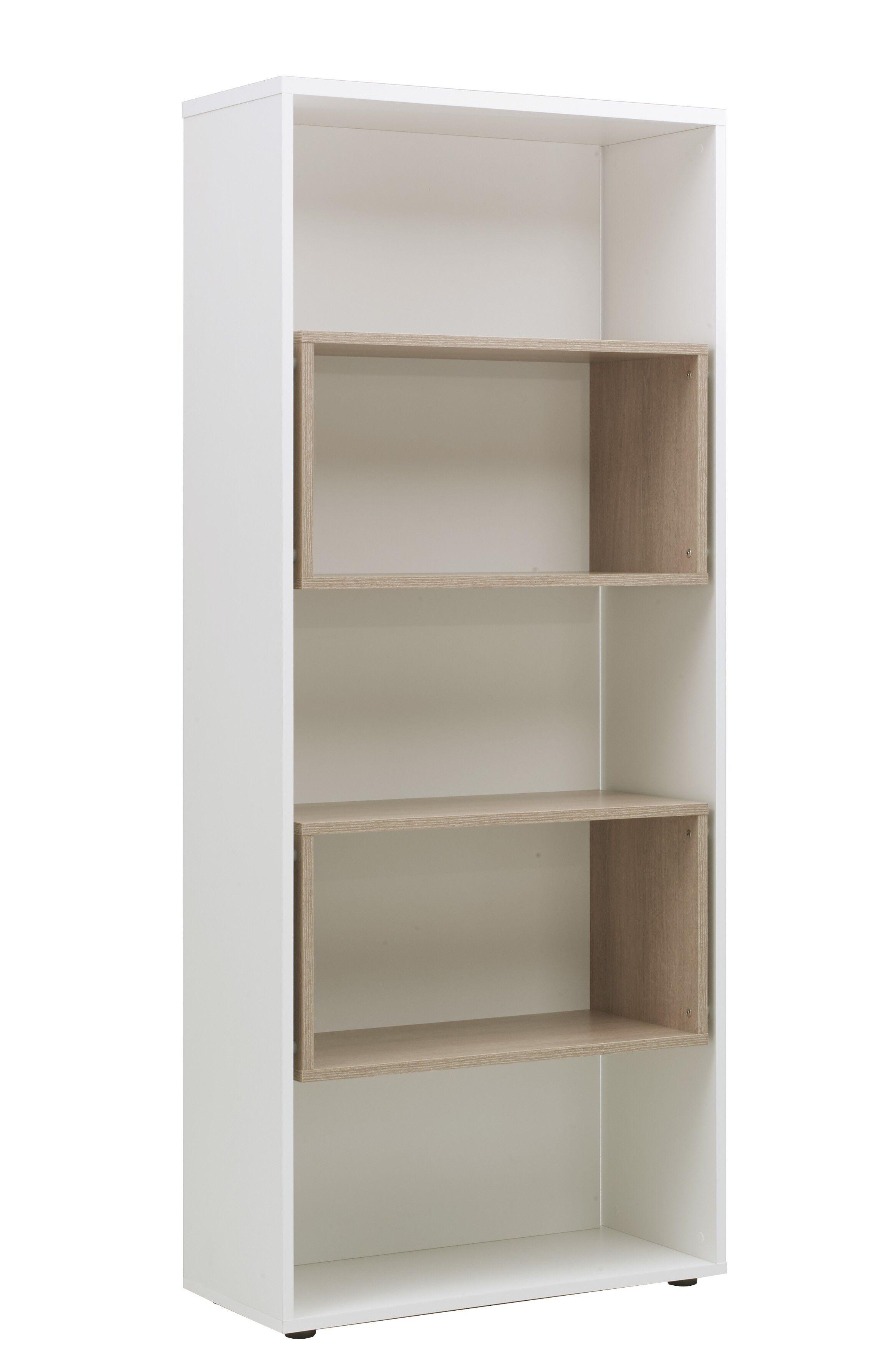 bibliotheque arpe l80 x h190 x p35 chene et blanc