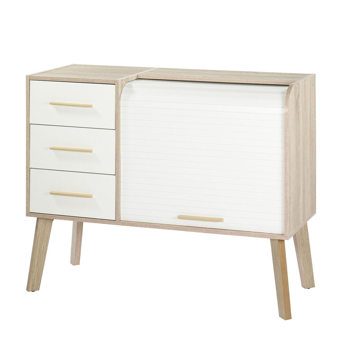 meuble cylindre vintage 3 tiroirs blancs pieds chene rideau blanc