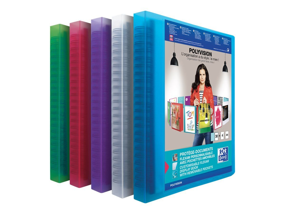 oxford polyvision porte vues personnalisable a pochettes amovibles flexam 60 vues a4 disponible dans differentes couleurs translucides