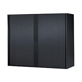 armoire basse a rideaux l120 x h105 x p43 cm 2 tablettes noir