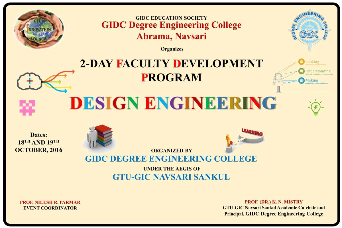2-day FDP on Design Engineering at GDEC, Abrama-Navsari (18/19-10-2016)