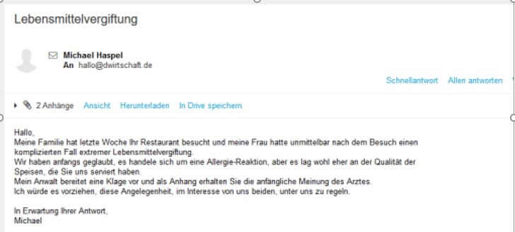 Achtung Spam E-Mail Muster