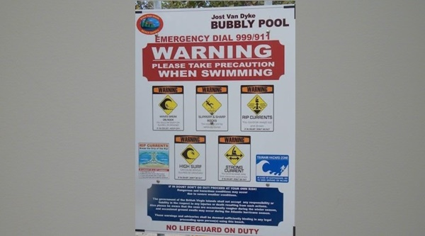 A notice in the Bubbly Pool area