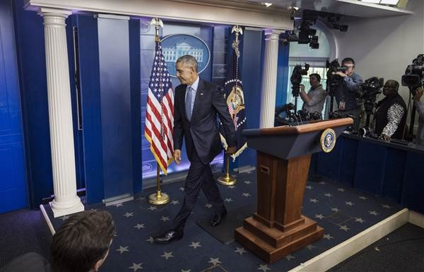 US President Barack Obama departs the Brady Press Briefing Room after his last press conference as president at the White House in Washington on Jan. 18, 2017. Obama spoke about the incoming Trump Administration, as well as his commutation of Chelsea Manning. Jim Lo Scalzo / EPA