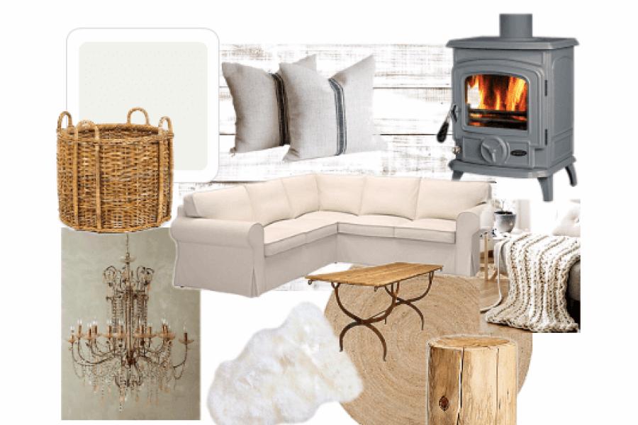 Attic fireplace white shiplap mood board