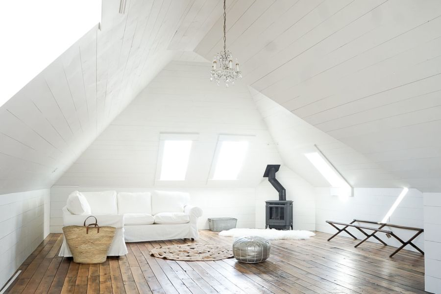 Hampton H27 Gas Fireplace Attic White Shiplap salvaged hardwood skylights ikea sectional round natural rug market basket