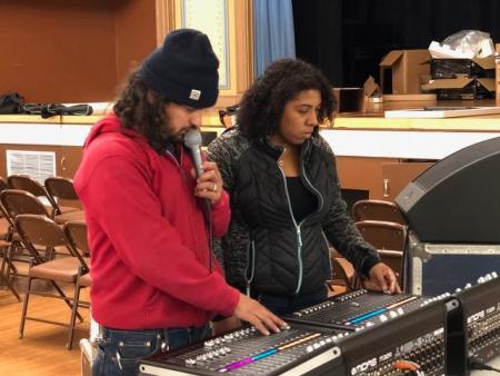 David Saenz, Zarahia Perdomo, getting the new system ready