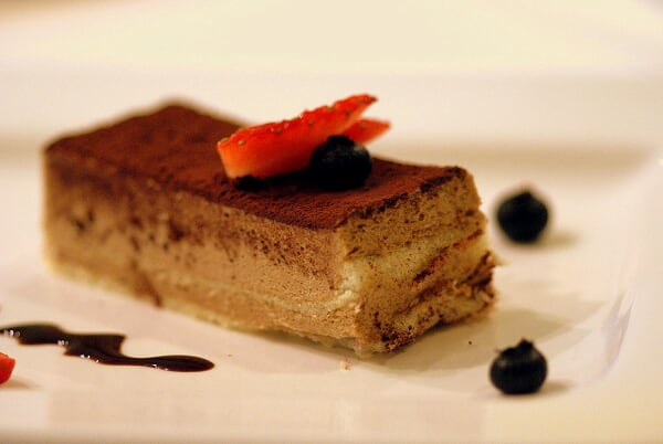 Tiramisu with Berries and Chocolate Sauce