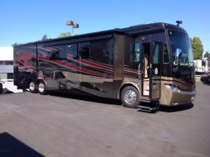 What a beauty of a motorhome. New 2014 Allegro Phaeton 42LA in the Rustic Canyon Exterior!