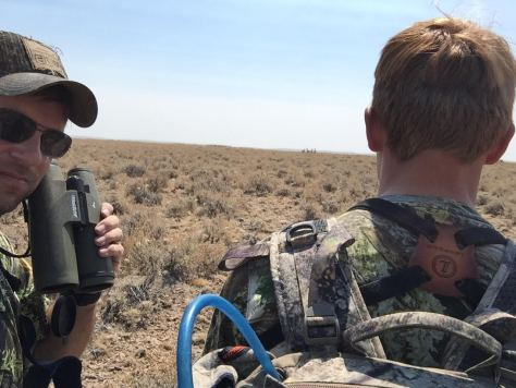 Scott and son checking out a herd of Pronghorn in the Juniper Unit in Oregon