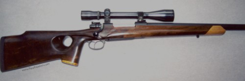 98 Mauser action in custom thumbhole stock.