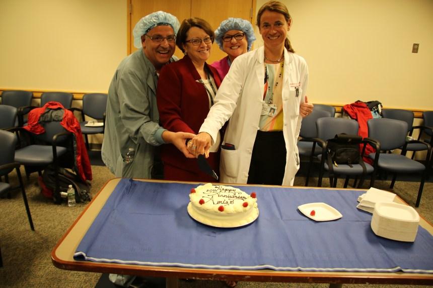 From left: Sean Jackson, Clare Tempany, Angela Kanan and Alexandra Golby celebrate the AMIGO suite's fifth anniversary.