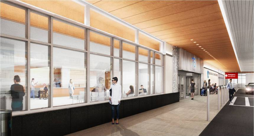 A rendering of the renovated 75 Francis entrance
