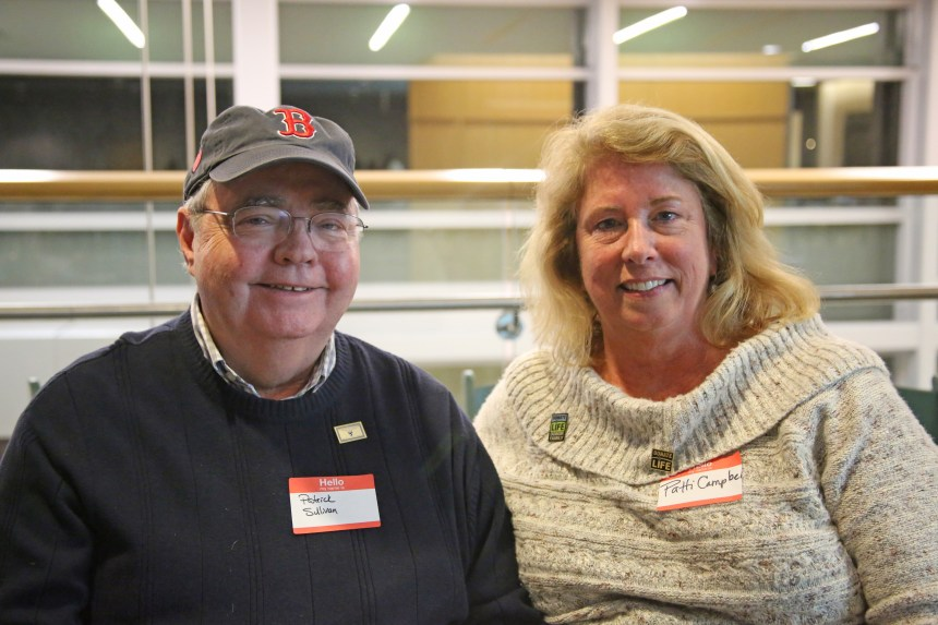 Heart transplant recipient Patrick Sullivan and Patti Campbell, the mother of his donor