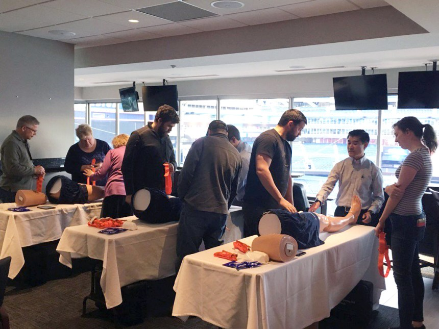 Training class for staff at Gillette Stadium