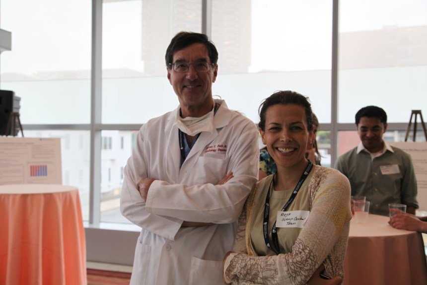 SCAMPs founder James Lock, MD, of Boston Children's Hospital, and Roya Ghazinouri, PT, of the BWH SCAMPs team, pose for a photo during the one-year anniversary of SCAMPs at BWH.
