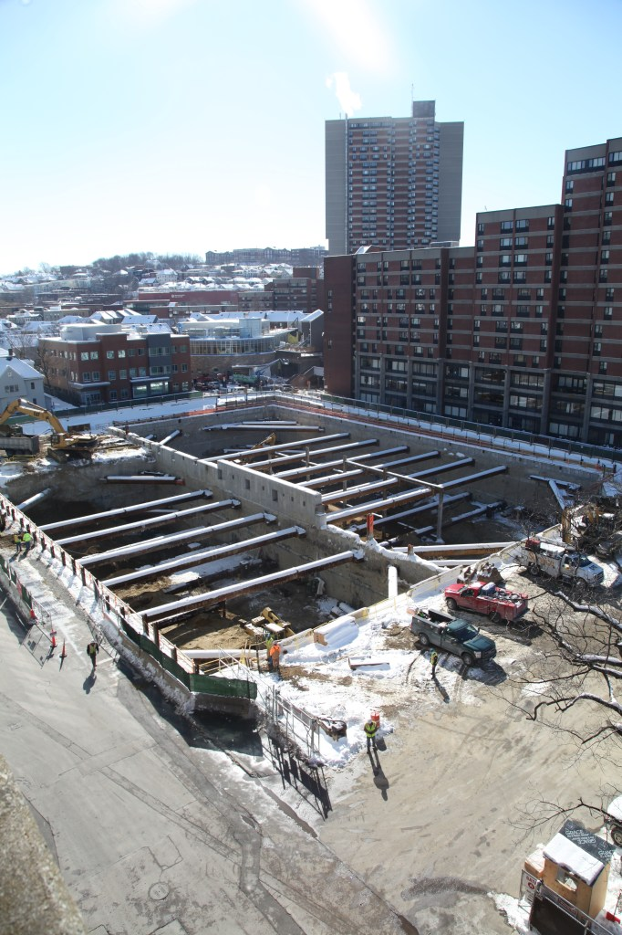 A view of the Brigham Building for the Future construction site from the Servicenter Garage in November.