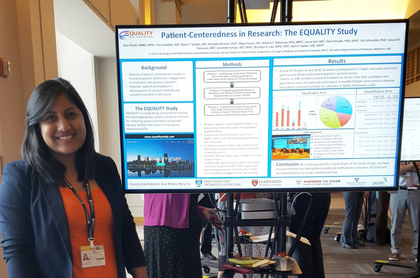 """Anju Ranjit presents her electronic poster on """"Patient Centeredness in Research: The Equality Study"""" at an event hosted by Patient Centered Comparative Effectiveness Research Center (PCERC)."""
