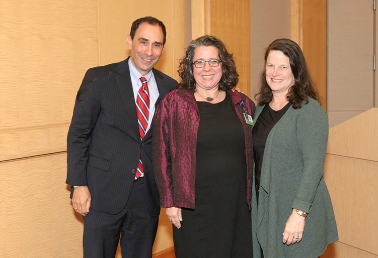 Past BLP participant Kathryn Rexrode, MD, with course directors Allen Smith, MD, MS, BWPO president, and Barbara Bierer, MD, CFDD founding director