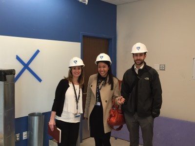 iHub team members Lesley Solomon, Bev Hardy and Brian Mullen preview the new space