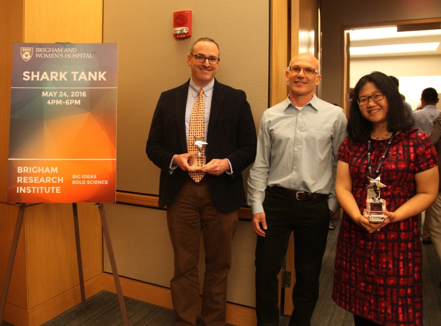 From left: Will Savage, Jason Fiering (a Draper lab collaborator on Savage's project) and Sophia Koo, winners of this year's BWH Health and Technology Innovation Fund grants.