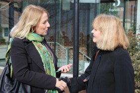 From left: Irish Consul-General Fionnuala Quinlan chats with BWH patient and transplant recipient Eileen Sullivan.