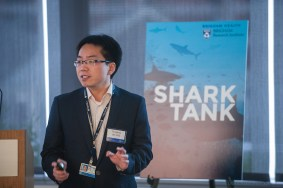 """Track A finalist Fenfeng Bei presents his project, """"Total Eye Transplantation for Visual Repair."""""""