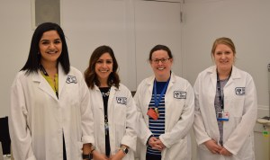The Nutrition and Metabolic Research Core registered research dietitians (from left) include: Director of Nutrition and Metabolic Research Core Demsina Babazadeh; Research Dietician Kristina Metzler; Senior Research Dietician Karen Yee; and Research Dietician Kelly Fallon.