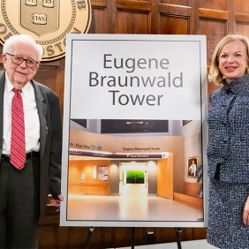"""""""The Brigham will stand in your honor, letting every person who walks through our doors know how your work has and will continue to save lives for generations of patients to come,"""" said Nabel (right)."""