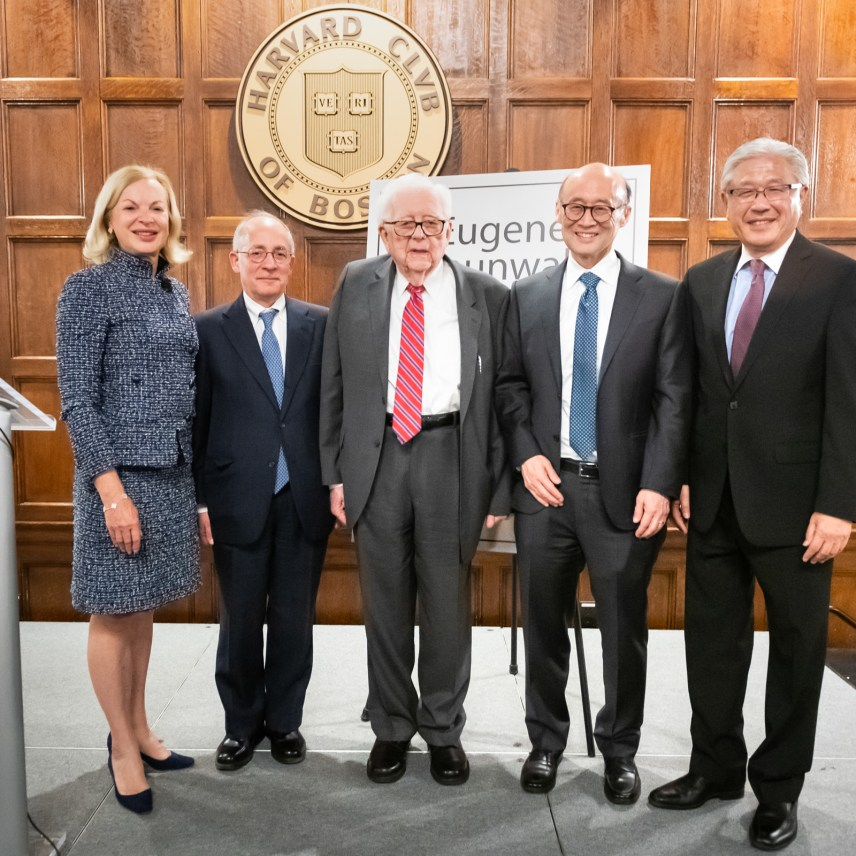 From left to right: Betsy Nabel, MD, Brigham Health president and event host; Joseph Loscalzo, MD, PhD, chair, Department of Medicine; Eugene Braunwald, MD, chair emeritus, Department of Medicine and guest of honor; Thomas H. Lee, MD, chief medical officer, Press Ganey; and Victor Dzau, MD, president of the National Academy of Medicine