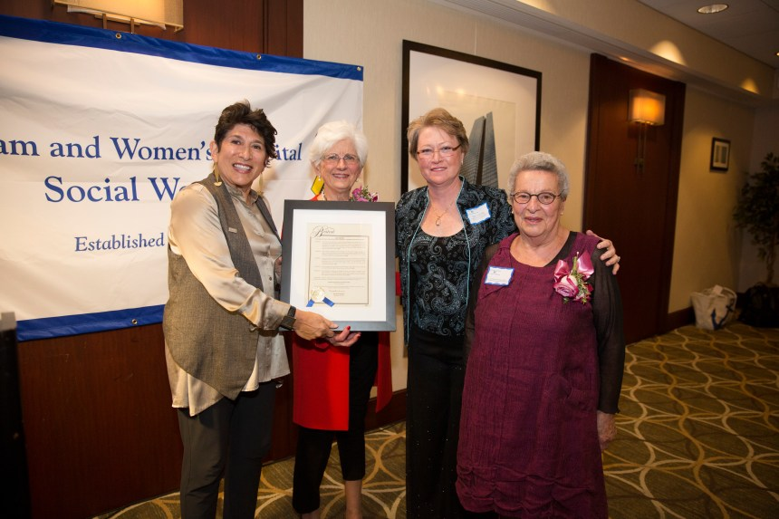 From left: Carol Trust, of the National Association of Social Workers Massachusetts Chapter; Anne Groves, former BWH and Boston Hospital for Women Social Work director; Martha Burke, Social Work director; and Florence Slepian, former BWH Social Work director and assistant vice president of Clinical Services
