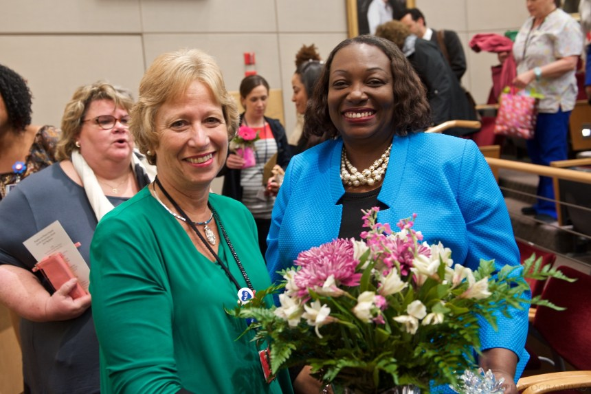 Joyce Johnson (at right) with Joan Vitello, associate chief nurse for Cardiovascular, Thoracic and Surgical Nursing
