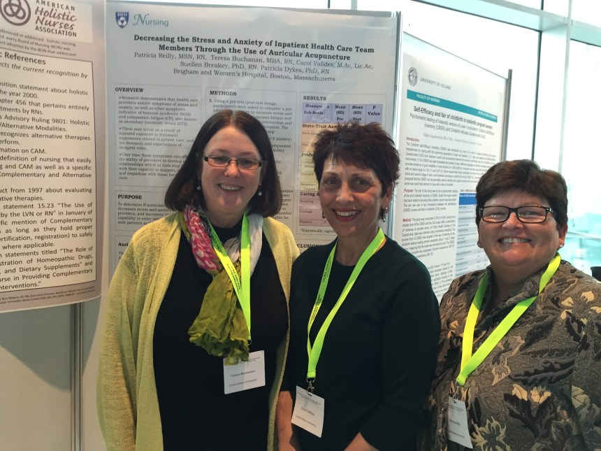 From left to right: Teresa Buchanan, BSN, MBA, RN, Carol Vafides, acupuncturist, and Patricia Reilly, MSN, RN, at their poster presentation at the International Integrative Nursing Conference in Iceland in May