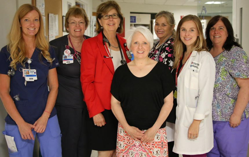 Members of the Palliative Care team, from left: Christine Carpenter, BSN, RN; Diane Costello, RN; Janet Abrahm, MD; Karen Legere, MSN, RN, OCN, CHPN; Elizabeth Olivo, RN; Kate Baccari, PA-C; and Maria Raleigh, RN