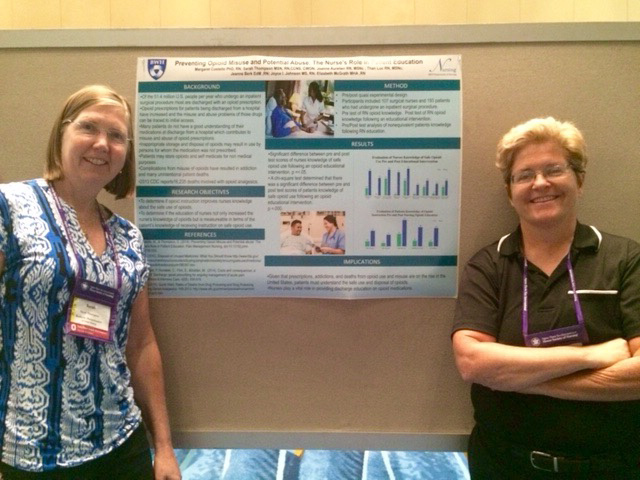 Sarah Thompson, MSN, RN, CCNS, CWON, (left) and Margaret Costello, PhD, RN, at the Sigma Theta Tau National Nursing Research Conference in Puerto Rico, where they gave both an oral and a poster presentation.