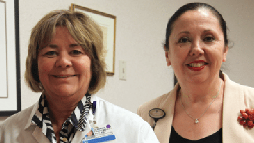 Deb Mulloy, PhD, RN, associate chief nurse for nursing quality and the Center for Nursing Excellence, and Jackie Somerville, PhD, RN, FAAN