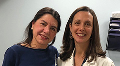 Patient Ayelet Sternberg with Valerie Durney in her clinic at the Lung Center.