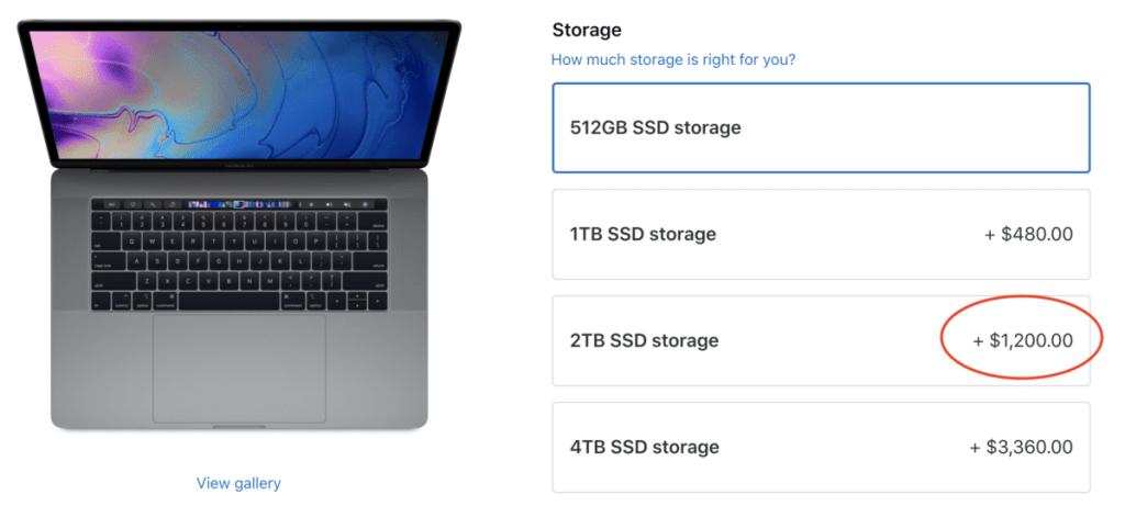 internal storage upgrade macbook pro