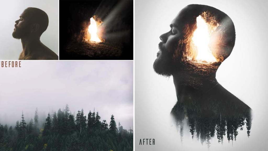 double exposure photoshop before and after