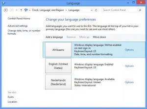 Language in Windows 7 and 8.1.
